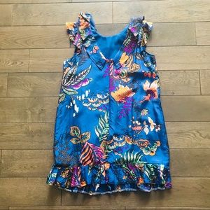 JCrew Blue colorful dress pleats at hem size 6
